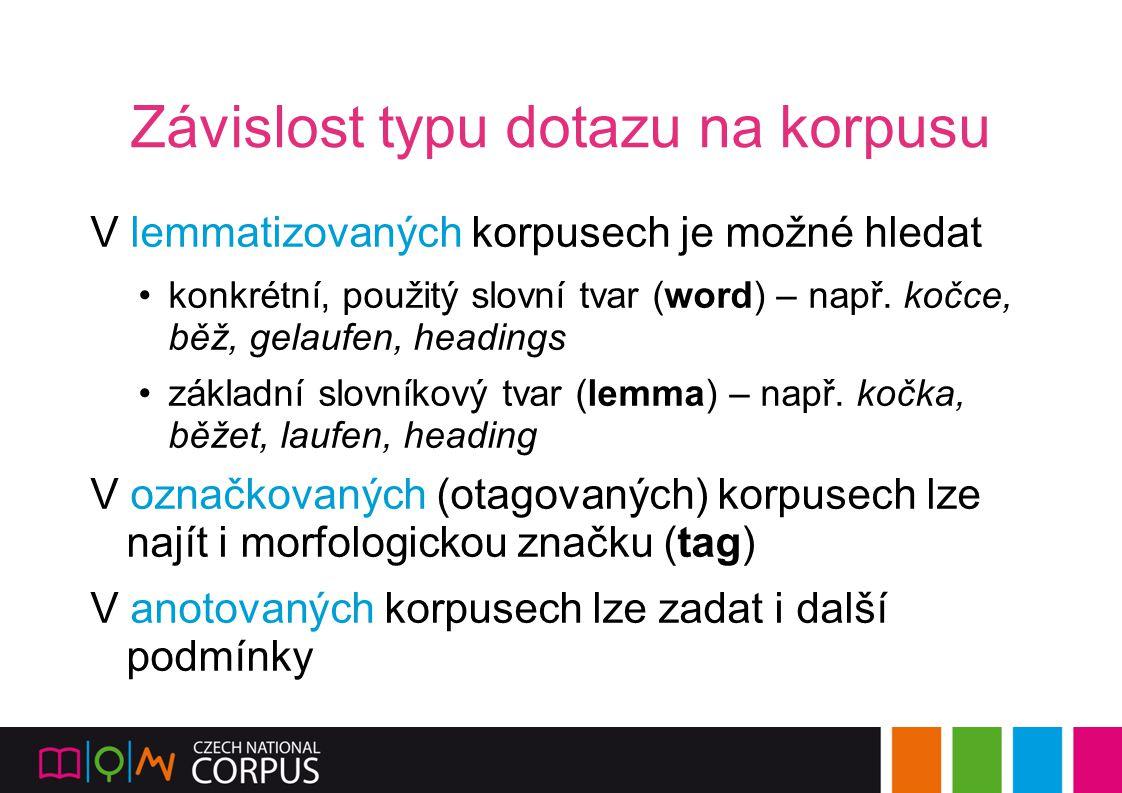 Závislost typu dotazu na korpusu V lemmatizovaných korpusech je možné hledat konkrétní, použitý slovní tvar (word) – např. kočce, běž, gelaufen, headi