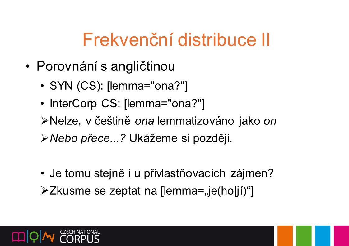 Frekvenční distribuce II Porovnání s angličtinou SYN (CS): [lemma=