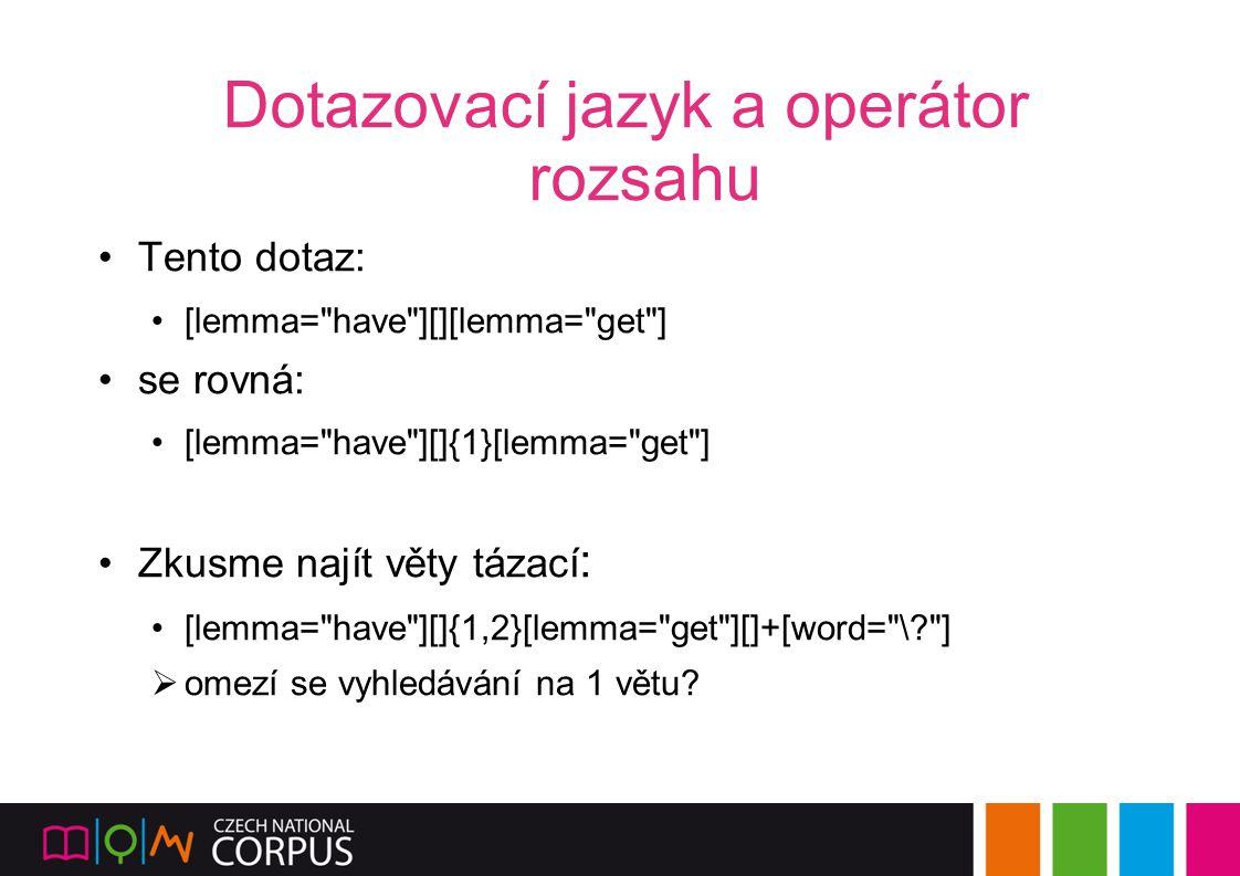 Dotazovací jazyk a operátor rozsahu Tento dotaz: [lemma=