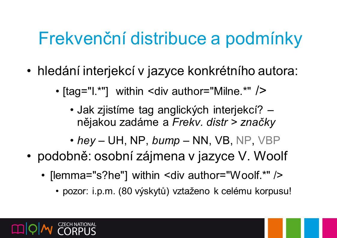Frekvenční distribuce a podmínky hledání interjekcí v jazyce konkrétního autora: [tag=