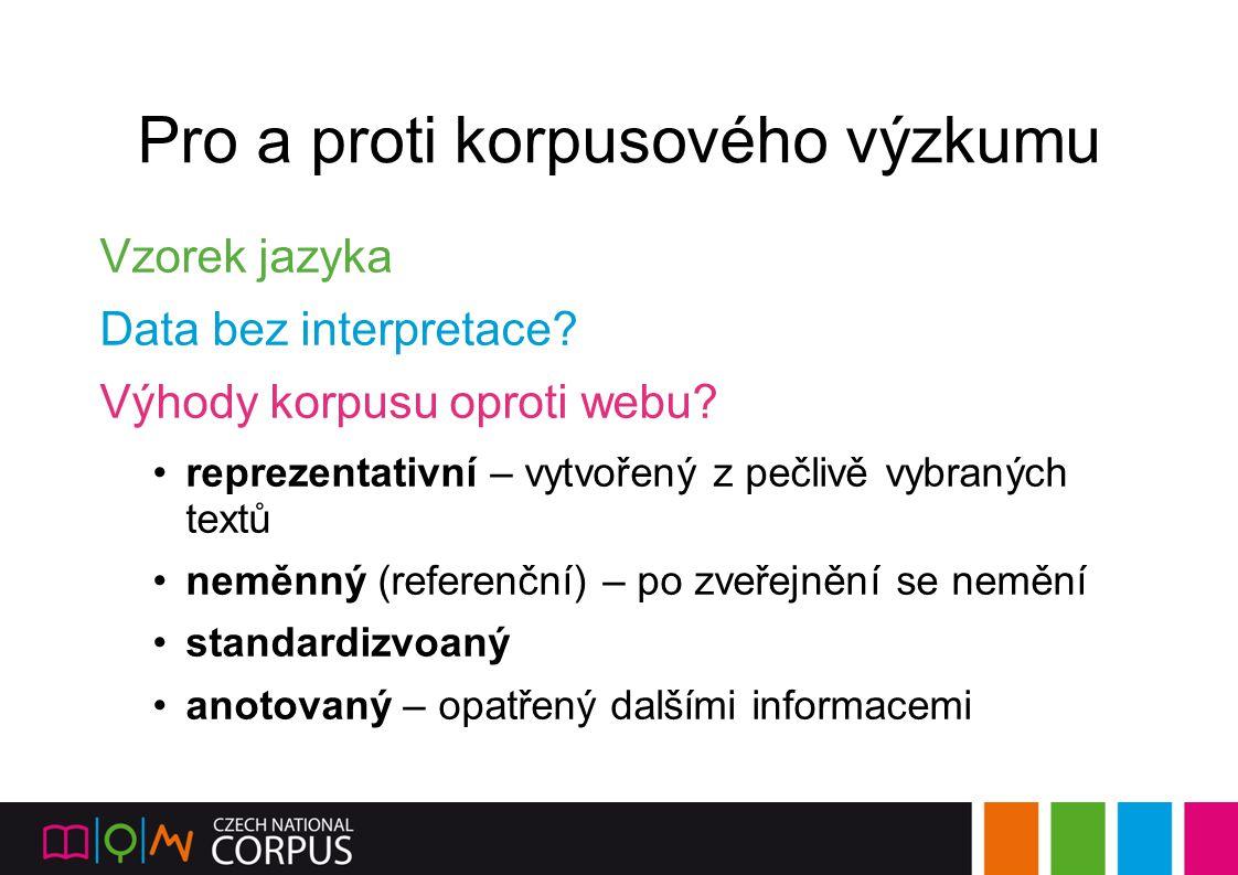 Pro a proti korpusového výzkumu Vzorek jazyka Data bez interpretace? Výhody korpusu oproti webu? reprezentativní – vytvořený z pečlivě vybraných textů