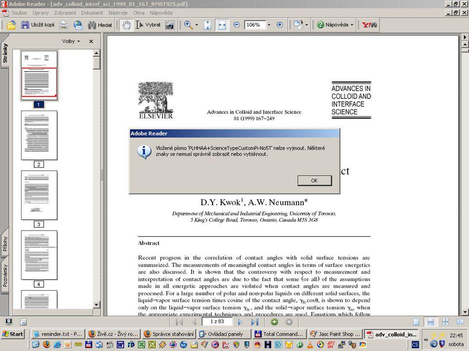 S TÁTNÍ TECHNICKÁ KNIHOVNA ÚISK FF UK, 30. dubna 2007 JIP Problém s kompatibilitou PDF?  některá PDF z dogitální knihovny Sciencedirect  týká se spe
