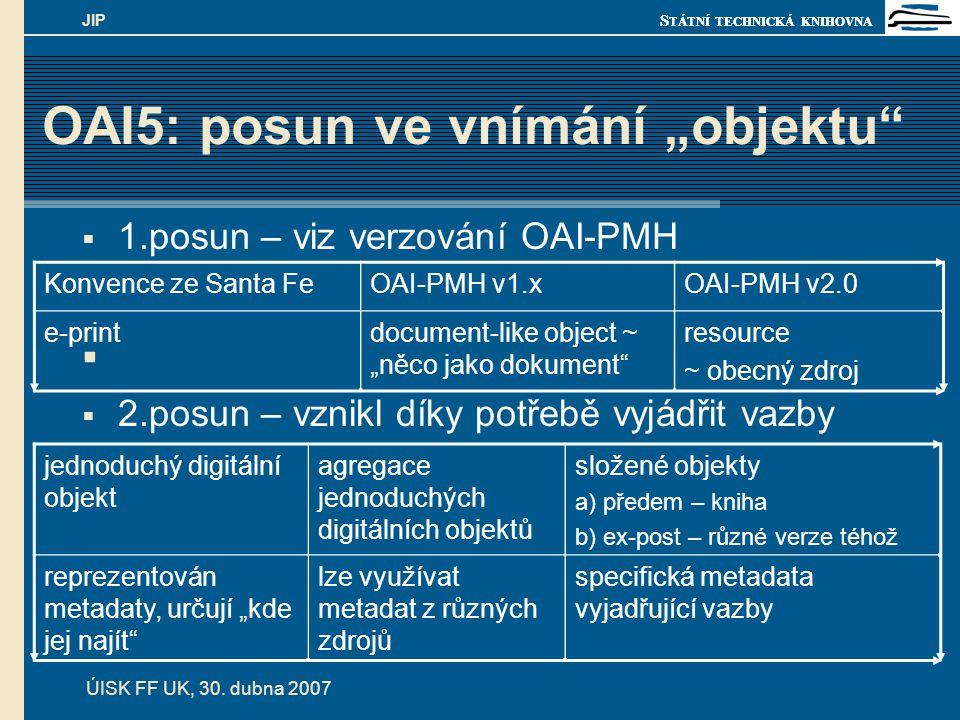 """S TÁTNÍ TECHNICKÁ KNIHOVNA ÚISK FF UK, 30. dubna 2007 JIP OAI5: posun ve vnímání """"objektu""""  1.posun – viz verzování OAI-PMH   2.posun – vznikl díky"""