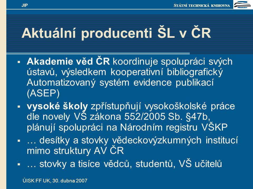 S TÁTNÍ TECHNICKÁ KNIHOVNA ÚISK FF UK, 30. dubna 2007 JIP Aktuální producenti ŠL v ČR  Akademie věd ČR koordinuje spolupráci svých ústavů, výsledkem