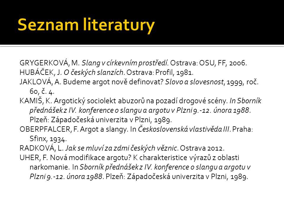 GRYGERKOVÁ, M.Slang v církevním prostředí. Ostrava: OSU, FF, 2006.