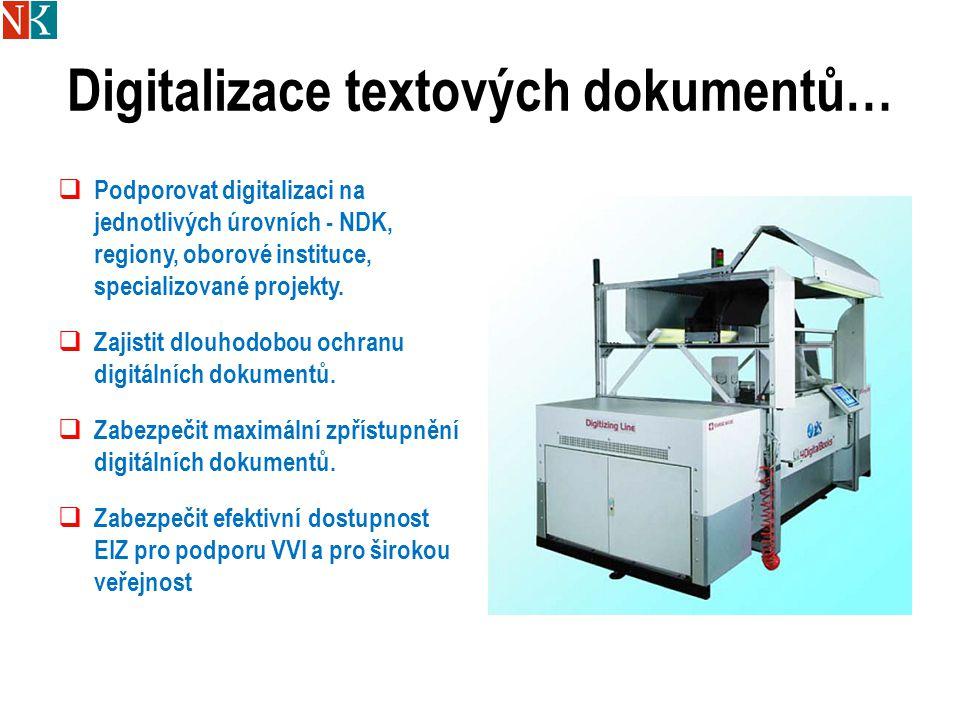 Digitalizace textových dokumentů…  Podporovat digitalizaci na jednotlivých úrovních - NDK, regiony, oborové instituce, specializované projekty.  Zaj