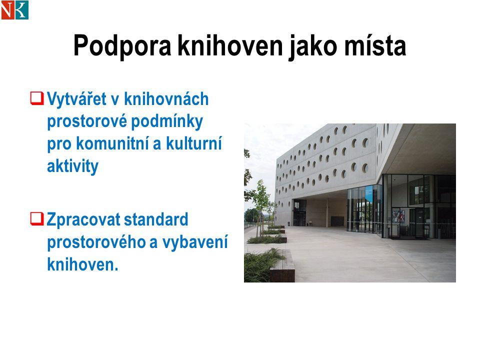 Podpora knihoven jako místa  Vytvářet v knihovnách prostorové podmínky pro komunitní a kulturní aktivity  Zpracovat standard prostorového a vybavení