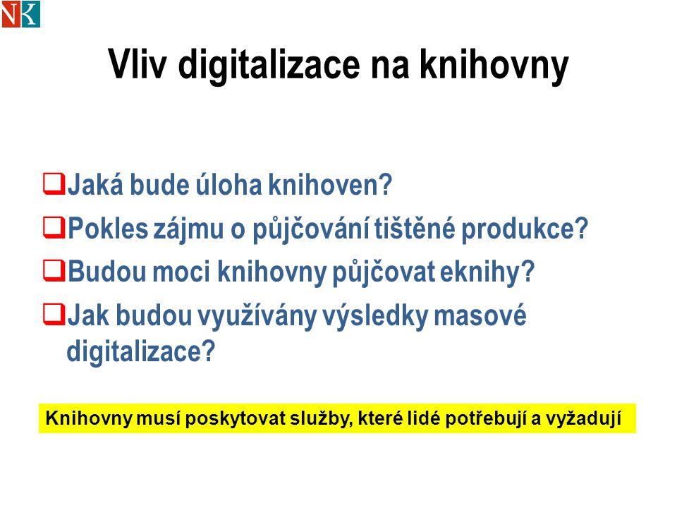 Vliv digitalizace na knihovny  Jaká bude úloha knihoven?  Pokles zájmu o půjčování tištěné produkce?  Budou moci knihovny půjčovat eknihy?  Jak bu