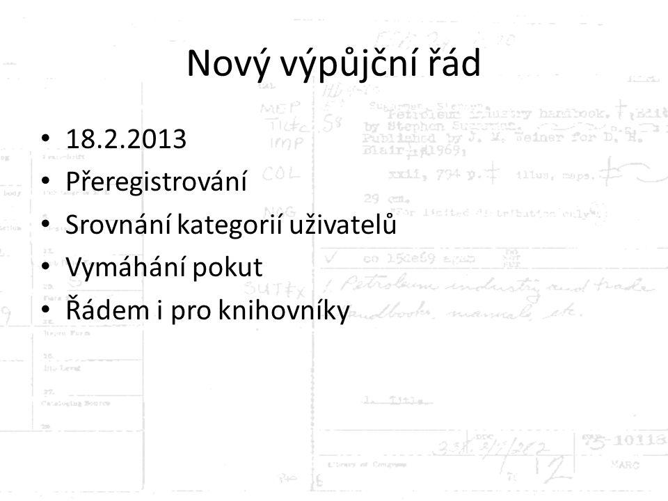 Nový výpůjční řád 18.2.2013 Přeregistrování Srovnání kategorií uživatelů Vymáhání pokut Řádem i pro knihovníky