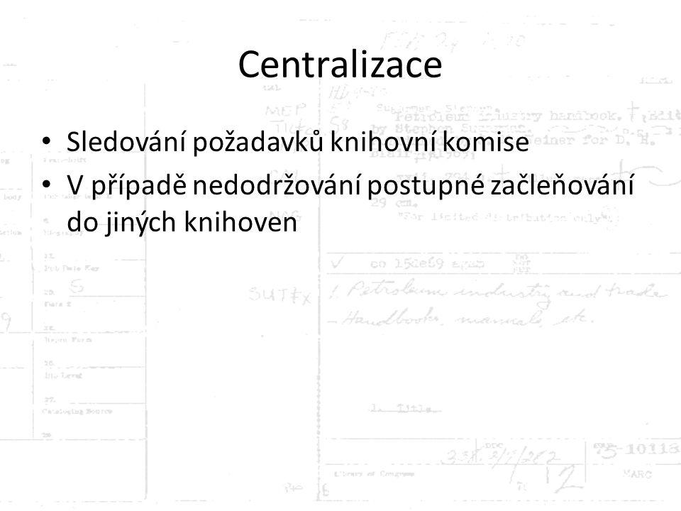 Centralizace Sledování požadavků knihovní komise V případě nedodržování postupné začleňování do jiných knihoven