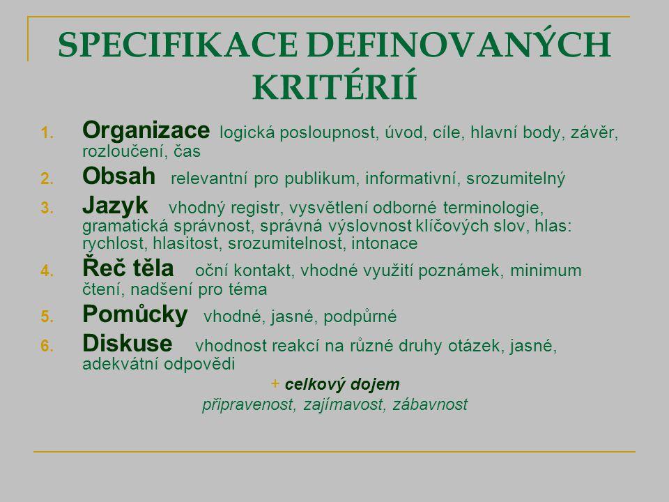 SPECIFIKACE DEFINOVANÝCH KRITÉRIÍ 1.