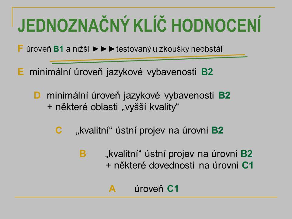 """JEDNOZNAČNÝ KLÍČ HODNOCENÍ F úroveň B1 a nižší ►►►testovaný u zkoušky neobstál E minimální úroveň jazykové vybavenosti B2 Dminimální úroveň jazykové vybavenosti B2 + některé oblasti """"vyšší kvality C """"kvalitní ústní projev na úrovni B2 B""""kvalitní ústní projev na úrovni B2 + některé dovednosti na úrovni C1 A úroveň C1"""