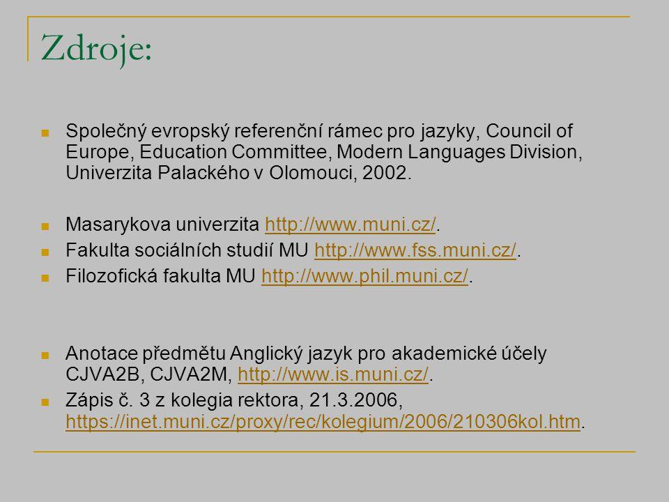 Zdroje: Společný evropský referenční rámec pro jazyky, Council of Europe, Education Committee, Modern Languages Division, Univerzita Palackého v Olomouci, 2002.