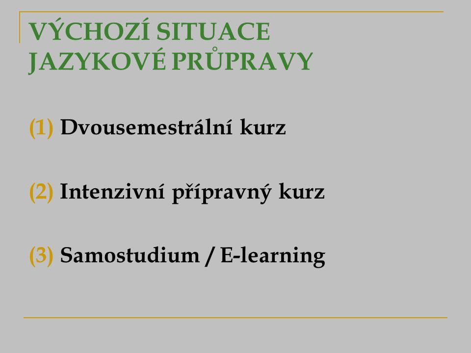 VÝCHOZÍ SITUACE JAZYKOVÉ PRŮPRAVY (1) Dvousemestrální kurz (2) Intenzivní přípravný kurz (3) Samostudium / E-learning