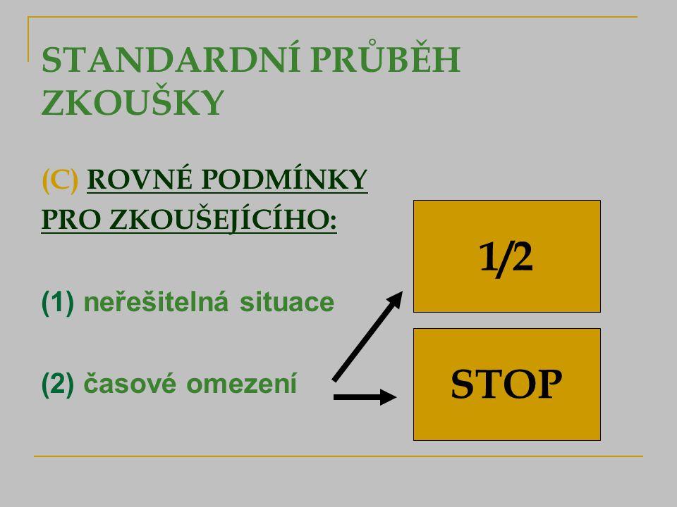 STANDARDNÍ PRŮBĚH ZKOUŠKY (C) ROVNÉ PODMÍNKY PRO ZKOUŠEJÍCÍHO: (1) neřešitelná situace (2) časové omezení 1/2 STOP