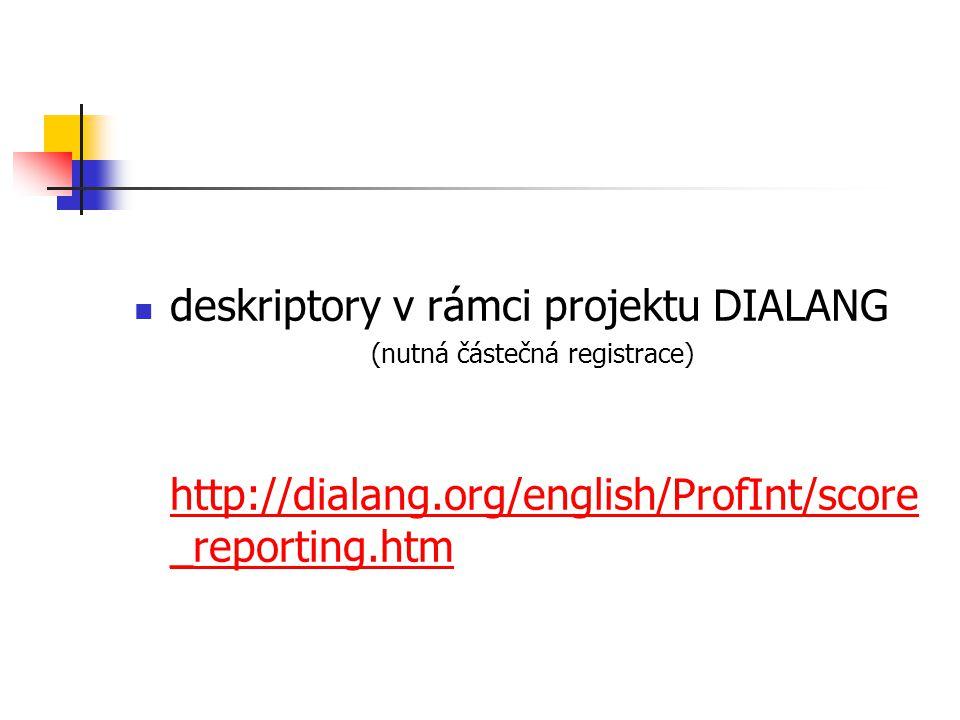 deskriptory v rámci projektu DIALANG (nutná částečná registrace) http://dialang.org/english/ProfInt/score _reporting.htm http://dialang.org/english/ProfInt/score _reporting.htm