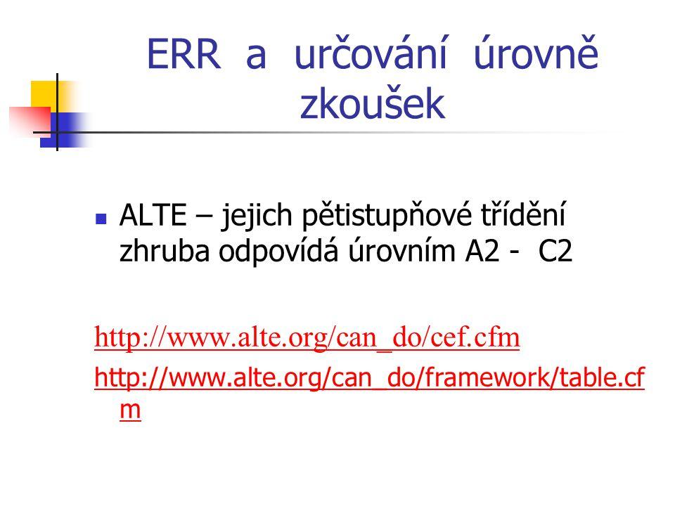 ERR a určování úrovně zkoušek ALTE – jejich pětistupňové třídění zhruba odpovídá úrovním A2 - C2 http://www.alte.org/can_do/cef.cfm http://www.alte.org/can_do/framework/table.cf m