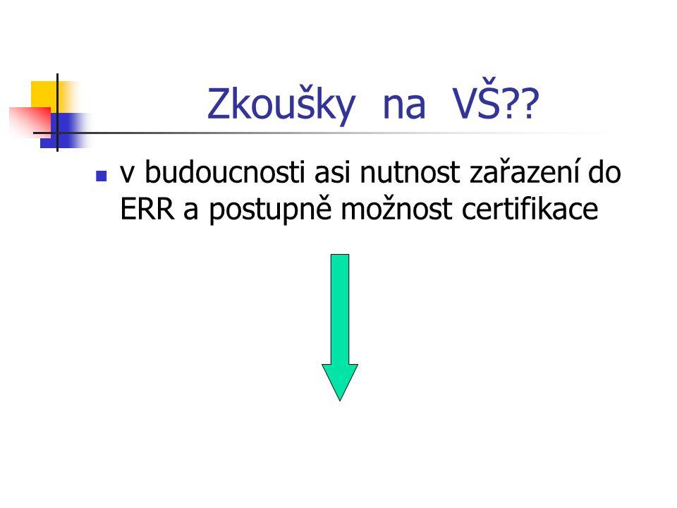 Zkoušky na VŠ v budoucnosti asi nutnost zařazení do ERR a postupně možnost certifikace