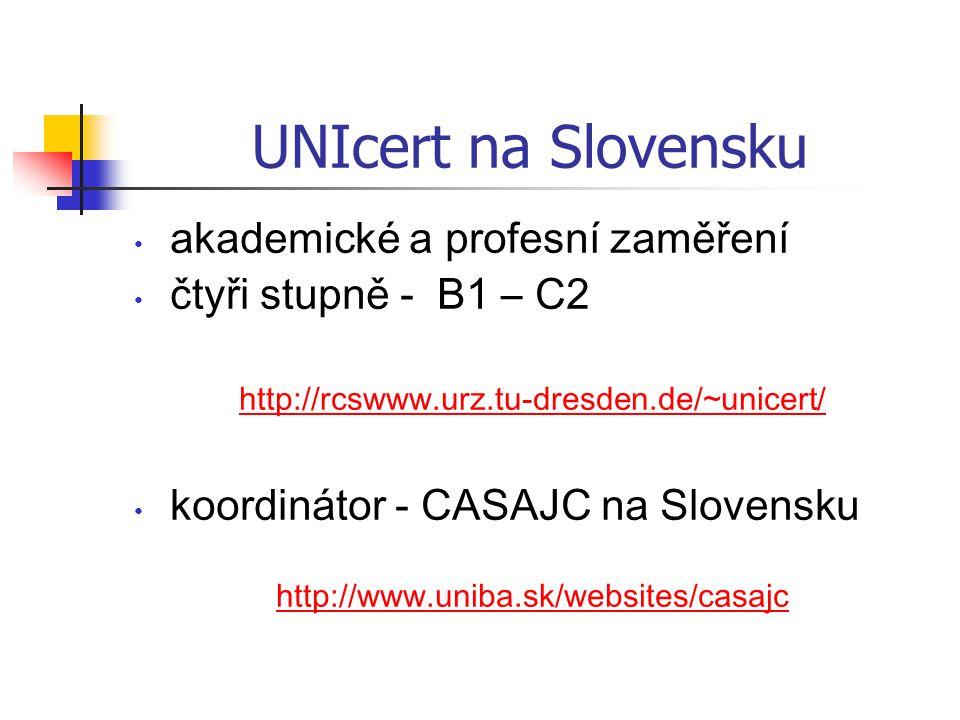 UNIcert na Slovensku akademické a profesní zaměření čtyři stupně - B1 – C2 http://rcswww.urz.tu-dresden.de/~unicert/ koordinátor - CASAJC na Slovensku http://www.uniba.sk/websites/casajc
