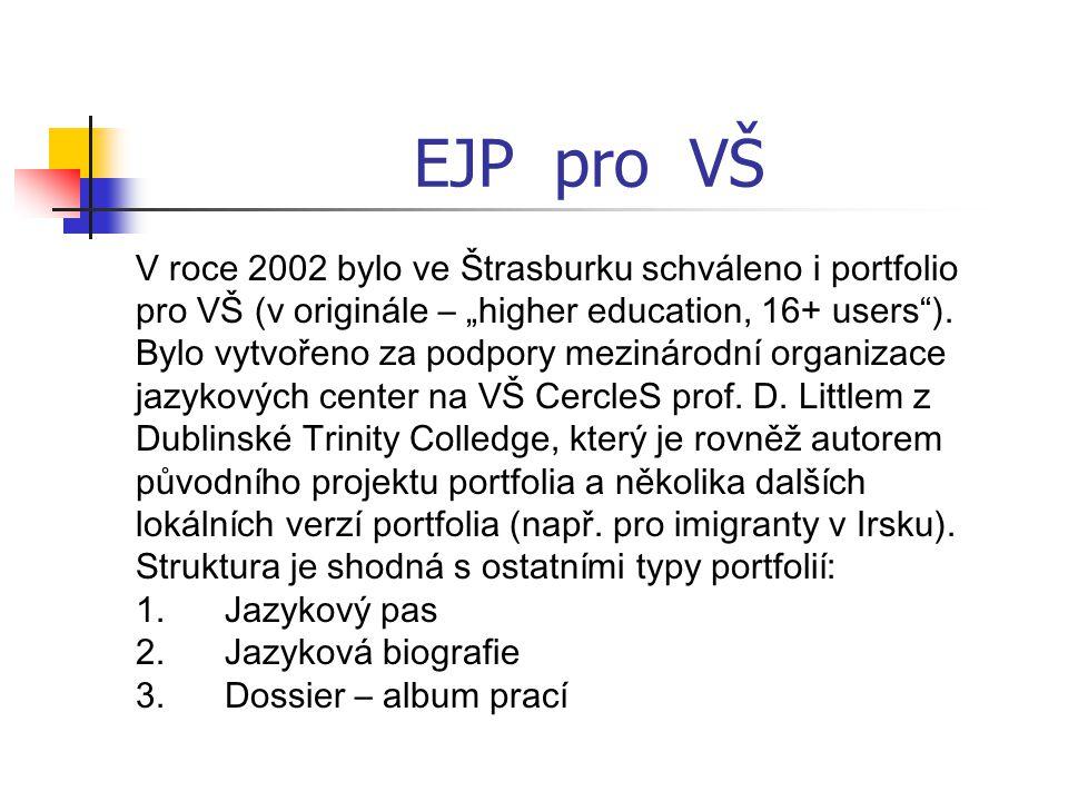 """EJP pro VŠ V roce 2002 bylo ve Štrasburku schváleno i portfolio pro VŠ (v originále – """"higher education, 16+ users )."""