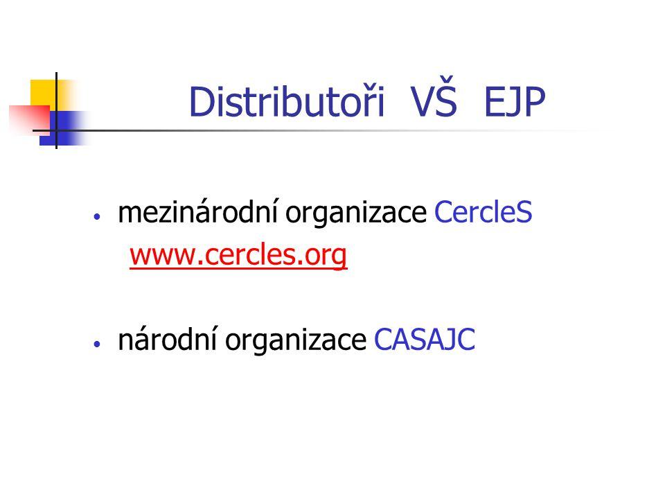 Distributoři VŠ EJP mezinárodní organizace CercleS www.cercles.org národní organizace CASAJC