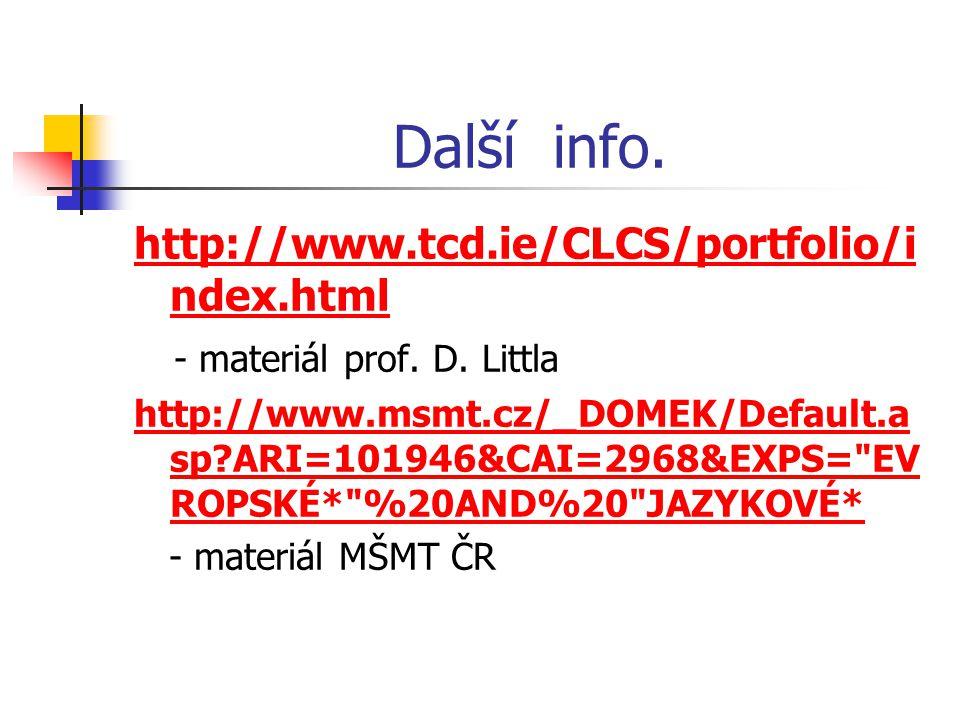 Další info. http://www.tcd.ie/CLCS/portfolio/i ndex.html - materiál prof.
