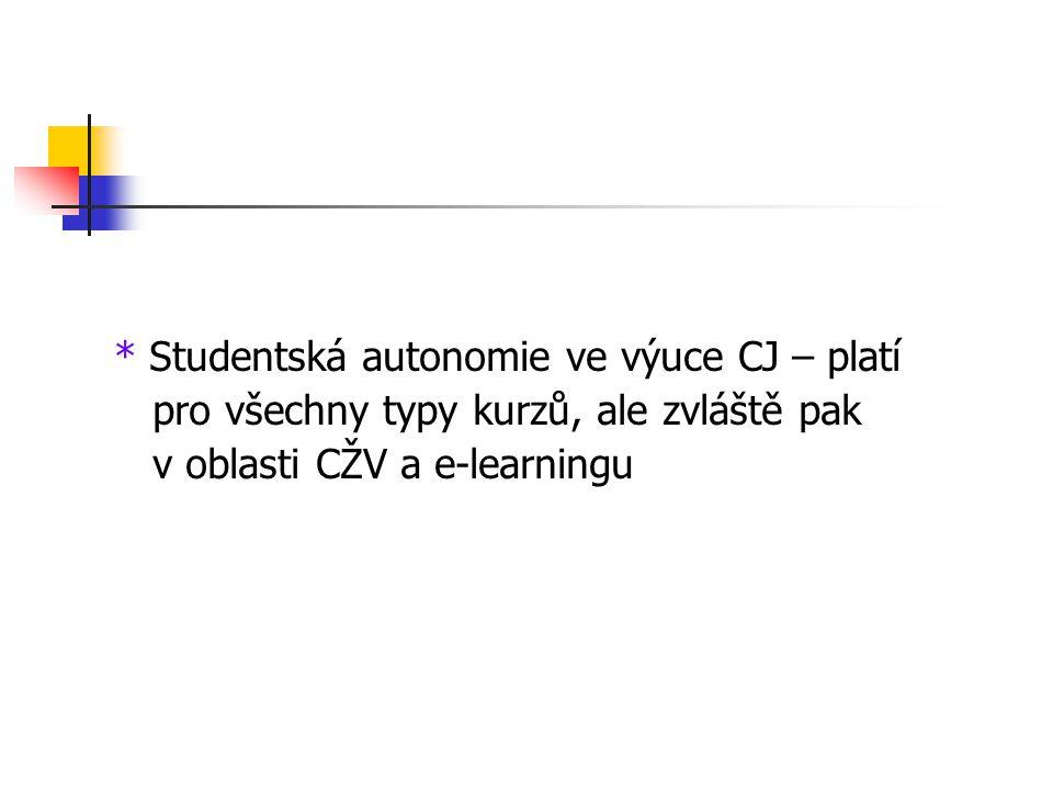 * Studentská autonomie ve výuce CJ – platí pro všechny typy kurzů, ale zvláště pak v oblasti CŽV a e-learningu