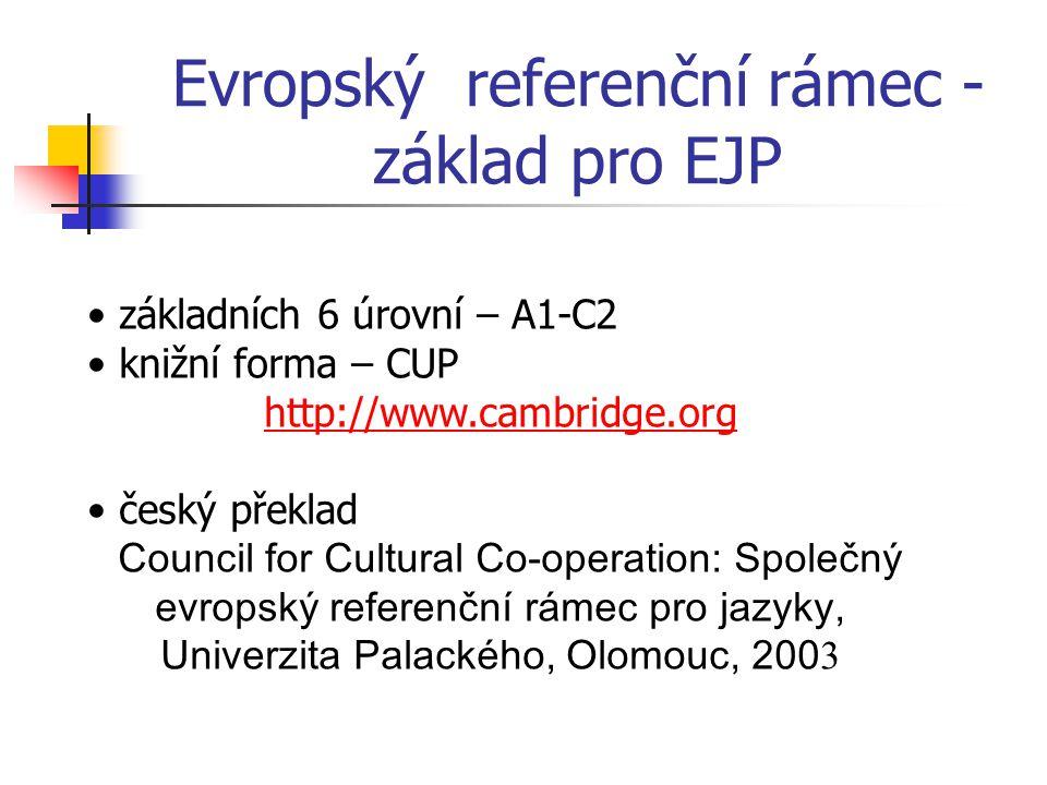 Evropský referenční rámec - základ pro EJP základních 6 úrovní – A1-C2 knižní forma – CUP http://www.cambridge.org český překlad Council for Cultural Co-operation: Společný evropský referenční rámec pro jazyky, Univerzita Palackého, Olomouc, 200 3