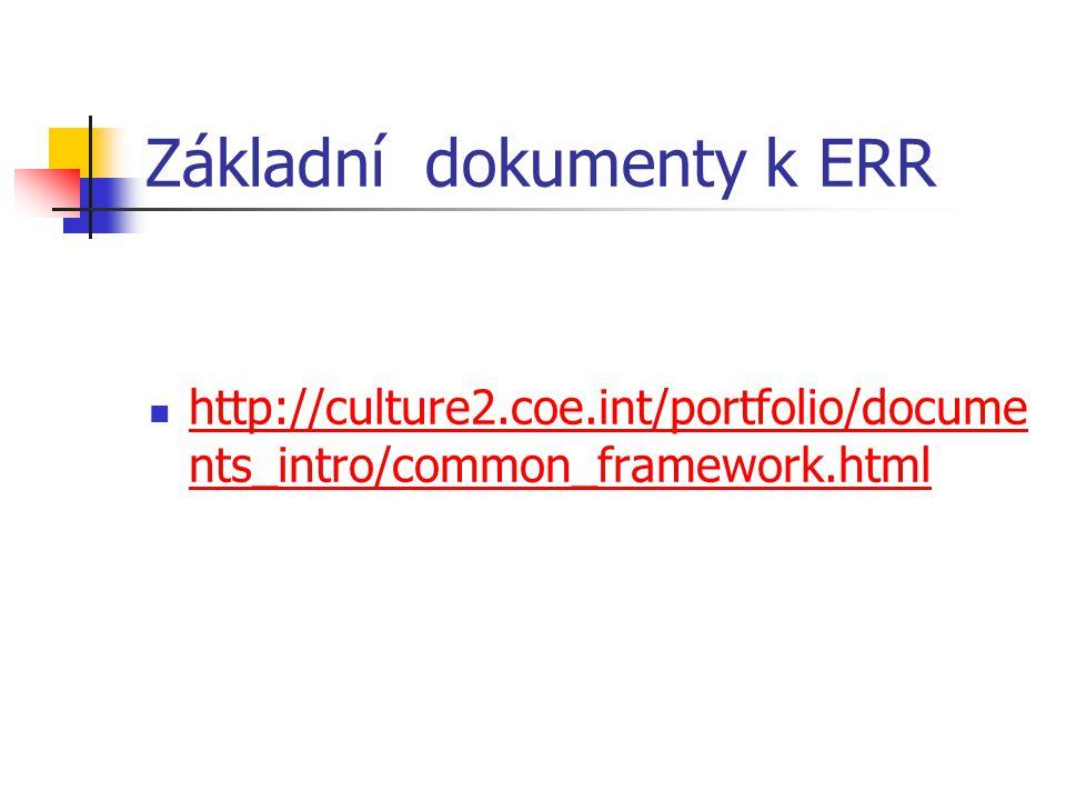 Základní dokumenty k ERR http://culture2.coe.int/portfolio/docume nts_intro/common_framework.html http://culture2.coe.int/portfolio/docume nts_intro/common_framework.html