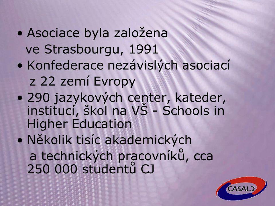 CASAJC - CASALC Česká a slovenská asociace učitelů jazykových center na vysokých školách sdružení učitelů těchto center v České a Slovenské republice Do CercleS byla přijata na základě rozhodnutí konference CercleS v Antverpách, Belgie září 2000, s platností od ledna 2001