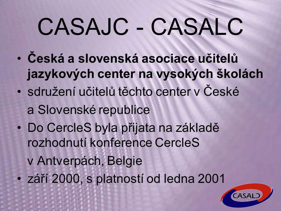 Současnost ČR – 3 centra s cca 20 katedrami/centry – http://casajc.ff.cuni.cz http://casajc.ff.cuni.cz SK – 5 center – http://www.casajc.sk http://www.casajc.sk
