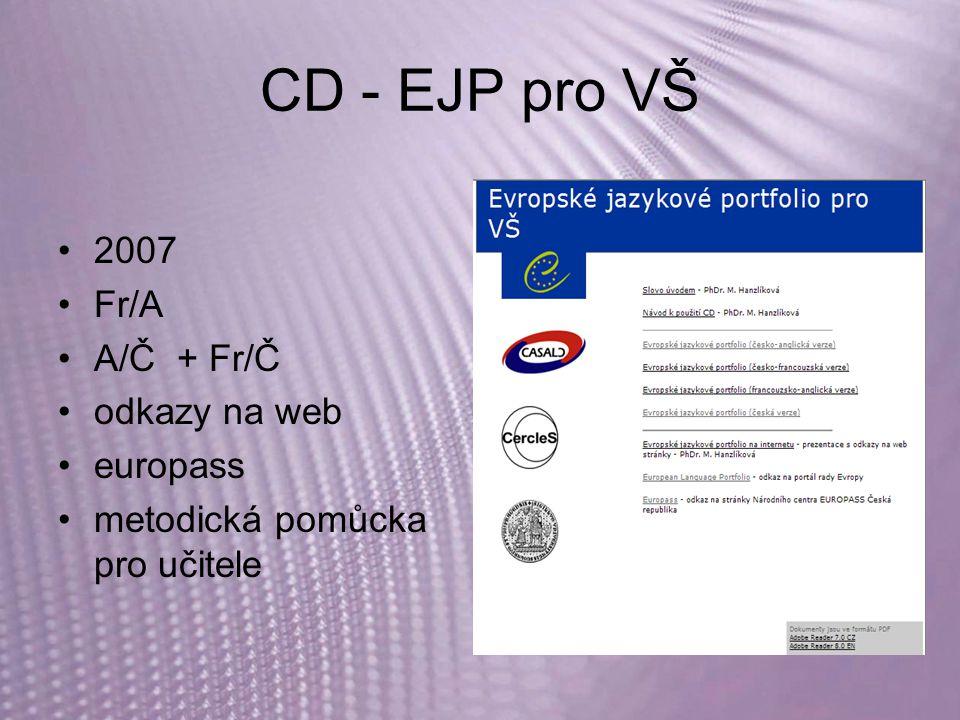 CD - EJP pro VŠ 2007 Fr/A A/Č + Fr/Č odkazy na web europass metodická pomůcka pro učitele