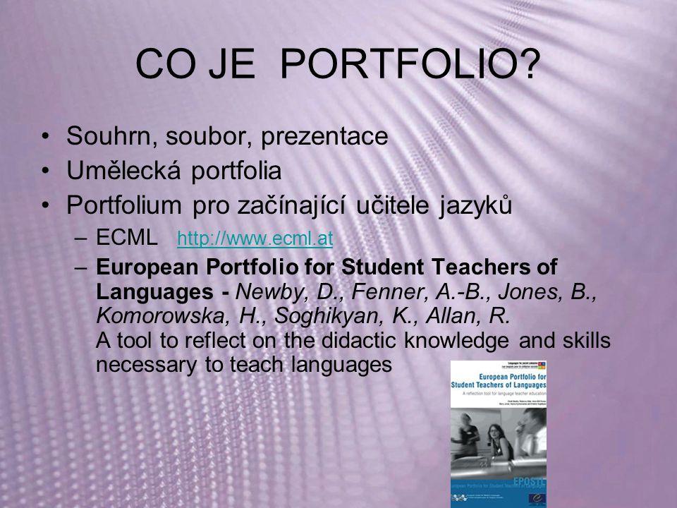 CO JE PORTFOLIO? Souhrn, soubor, prezentace Umělecká portfolia Portfolium pro začínající učitele jazyků –ECML http://www.ecml.at http://www.ecml.at –E
