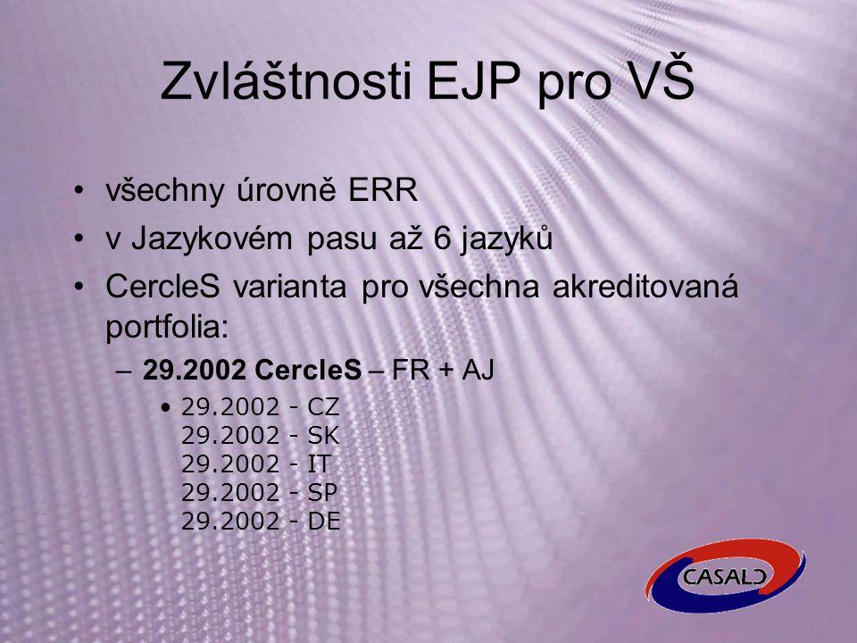 Zvláštnosti EJP pro VŠ všechny úrovně ERR v Jazykovém pasu až 6 jazyků CercleS varianta pro všechna akreditovaná portfolia: –29.2002 CercleS – FR + AJ 29.2002 - CZ 29.2002 - SK 29.2002 - IT 29.2002 - SP 29.2002 - DE