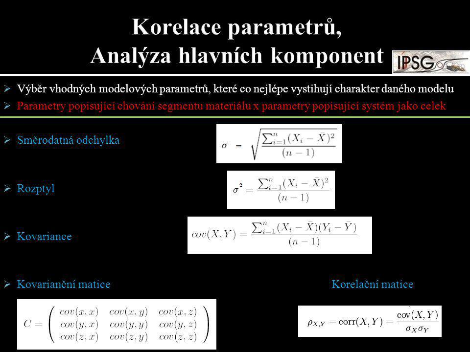  Výběr vhodných modelových parametrů, které co nejlépe vystihují charakter daného modelu  Parametry popisující chování segmentu materiálu x parametr