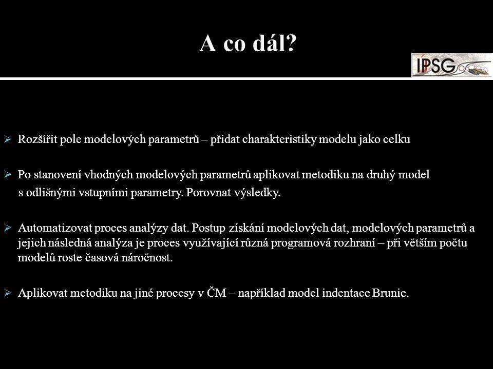  Rozšířit pole modelových parametrů – přidat charakteristiky modelu jako celku  Po stanovení vhodných modelových parametrů aplikovat metodiku na dru