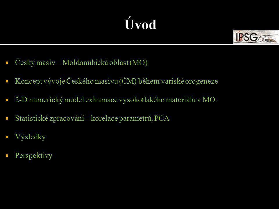  Český masiv – Moldanubická oblast (MO)  Koncept vývoje Českého masivu (ČM) během variské orogeneze  2-D numerický model exhumace vysokotlakého mat