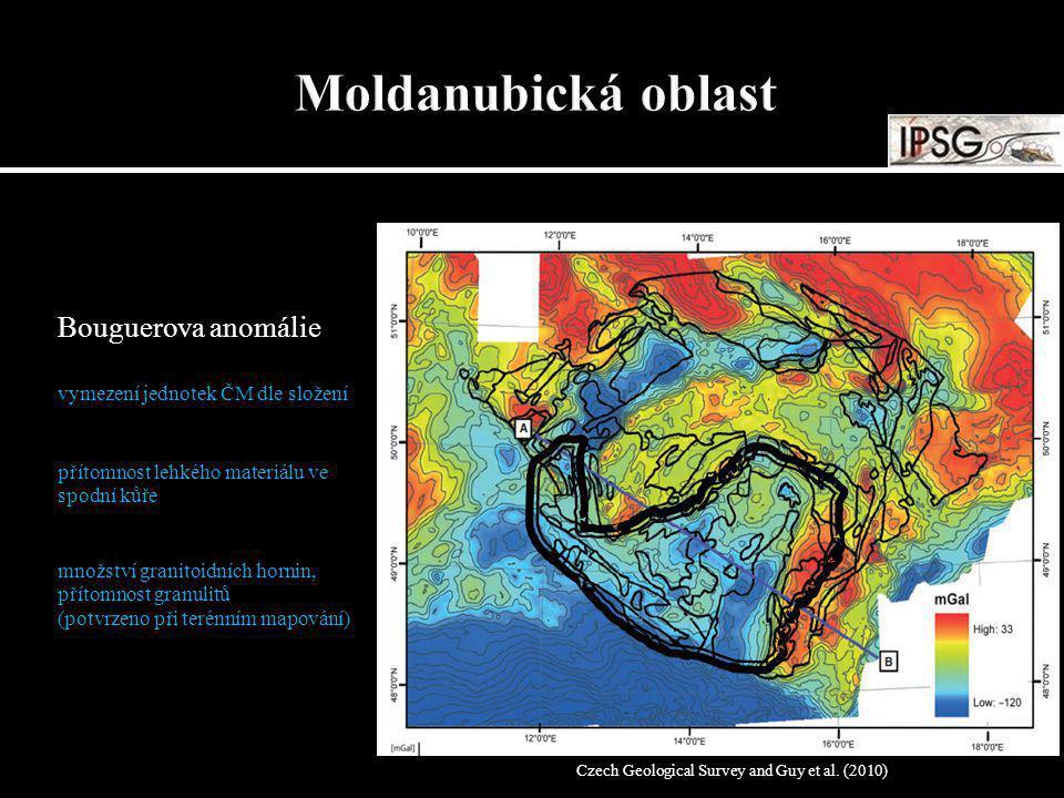 Bouguerova anomálie vymezení jednotek ČM dle složení přítomnost lehkého materiálu ve spodní kůře množství granitoidních hornin, přítomnost granulitů (