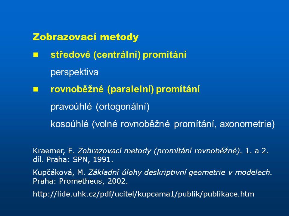 Zobrazovací metody středové (centrální) promítání perspektiva rovnoběžné (paralelní) promítání pravoúhlé (ortogonální) kosoúhlé (volné rovnoběžné promítání, axonometrie) Kraemer, E.