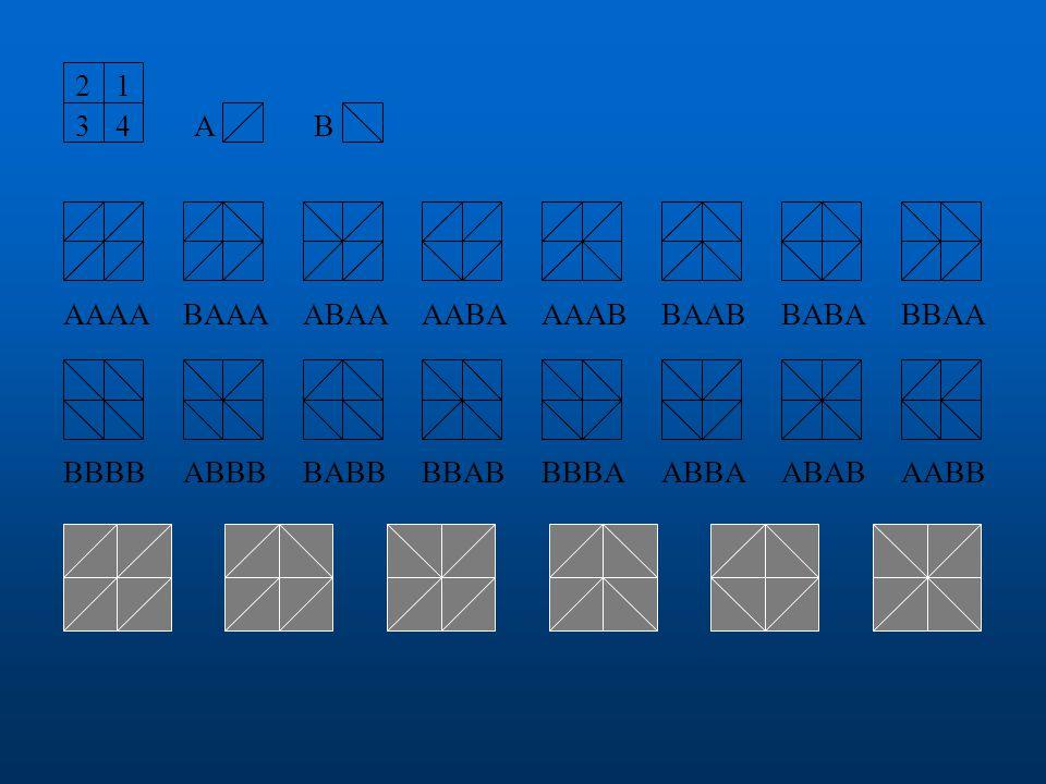 Mozaika Úloha 3 Sestavte z osmi shodných pravoúhlých rovnoramenných trojúhelníků dvou barev obrazec ve tvaru čtverce, který je a) pouze osově souměrný b) pouze středově souměrný c) osově i středově souměrný d) nesouměrný