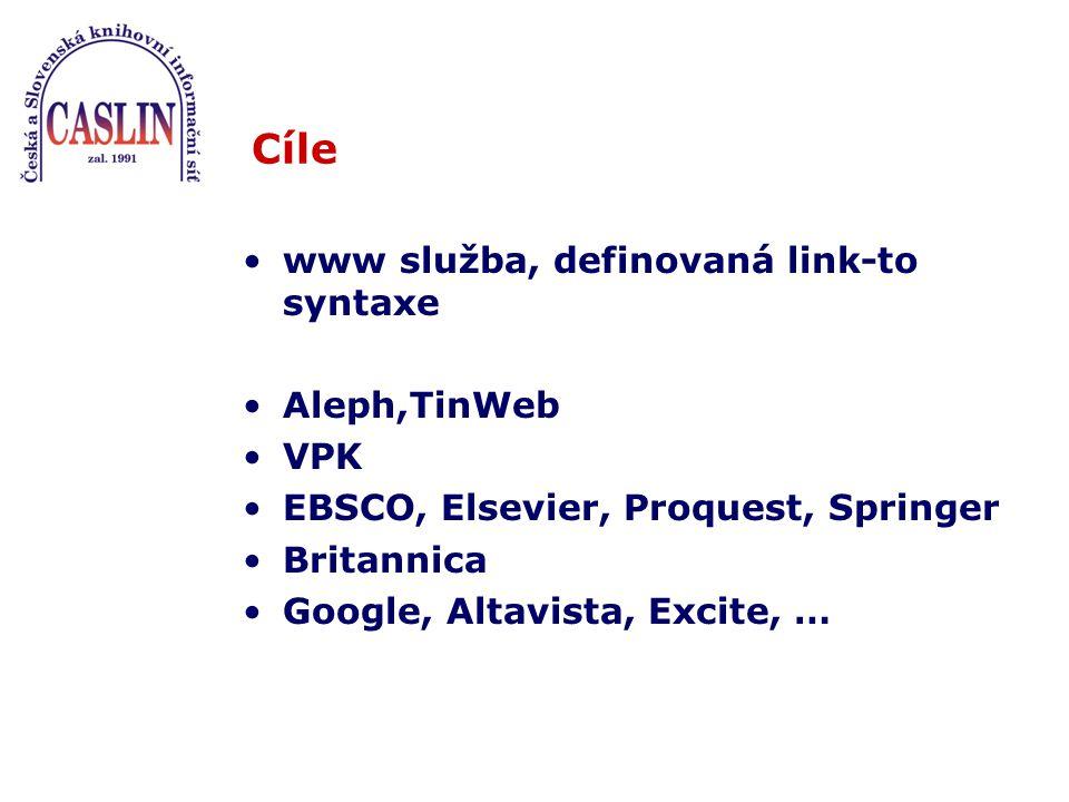 Cíle www služba, definovaná link-to syntaxe Aleph,TinWeb VPK EBSCO, Elsevier, Proquest, Springer Britannica Google, Altavista, Excite, …