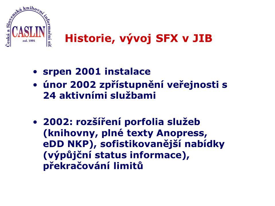 srpen 2001 instalace únor 2002 zpřístupnění veřejnosti s 24 aktivními službami 2002: rozšíření porfolia služeb (knihovny, plné texty Anopress, eDD NKP), sofistikovanější nabídky (výpůjční status informace), překračování limitů Historie, vývoj SFX v JIB