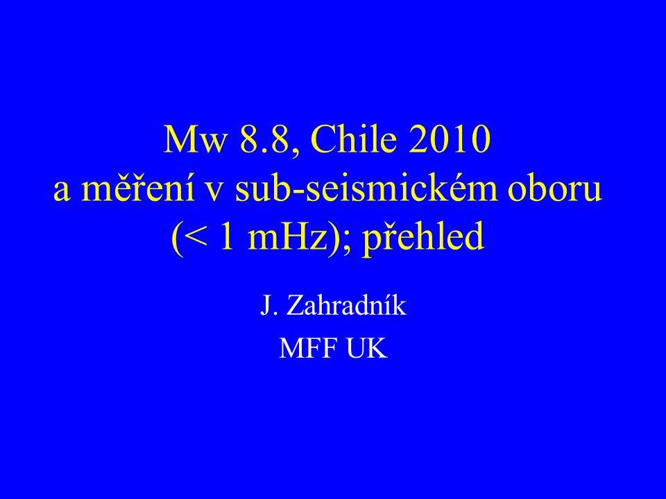 Mw 8.8, Chile 2010 a měření v sub-seismickém oboru (< 1 mHz); přehled J. Zahradník MFF UK