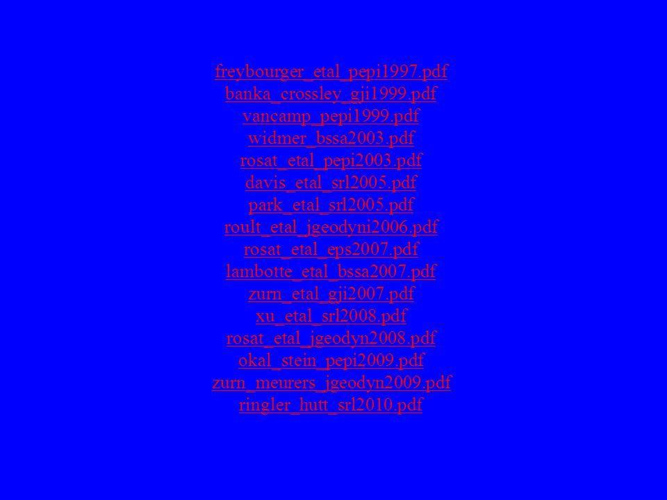 freybourger_etal_pepi1997.pdf banka_crossley_gji1999.pdf vancamp_pepi1999.pdf widmer_bssa2003.pdf rosat_etal_pepi2003.pdf davis_etal_srl2005.pdf park_
