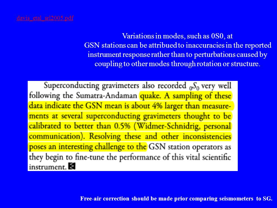 Variations in modes, such as 0S0, at GSN stations can be attribued to inaccuracies in the reported instrument response rather than to perturbations caused by coupling to other modes through rotation or structure.