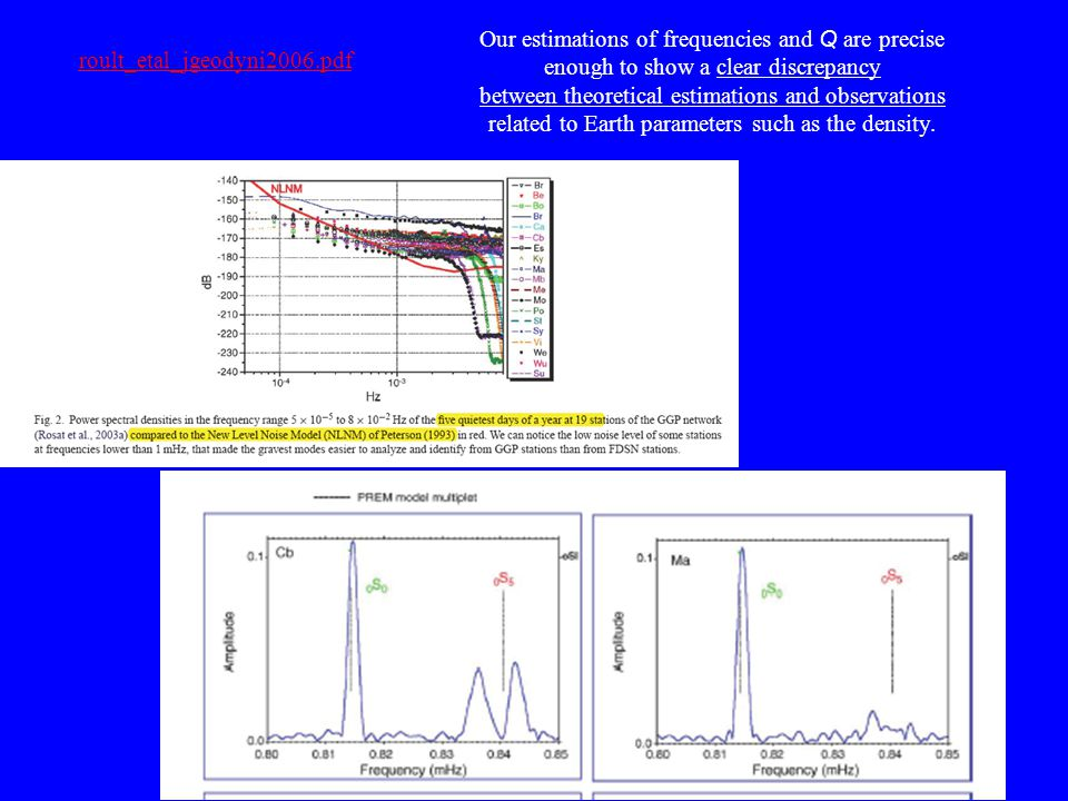 roult_etal_jgeodyni2006.pdf Our estimations of frequencies and Q are precise enough to show a clear discrepancy between theoretical estimations and ob