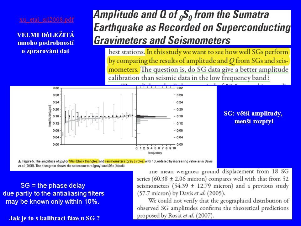 xu_etal_srl2008.pdf SG: větší amplitudy, menší rozptyl VELMI DůLEŽITÁ mnoho podrobností o zpracování dat SG = the phase delay due partly to the antial
