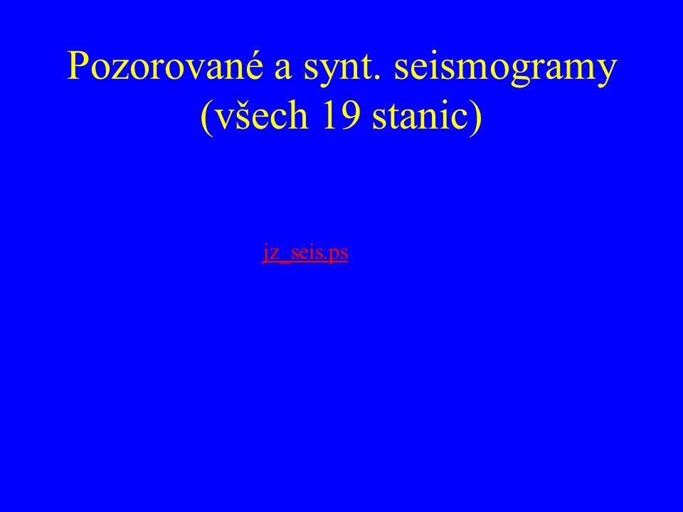 Pozorované a synt. seismogramy (všech 19 stanic) jz_seis.ps