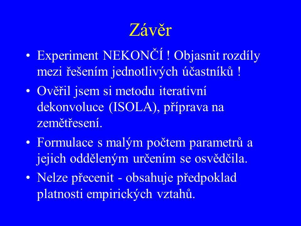 Závěr Experiment NEKONČÍ ! Objasnit rozdíly mezi řešením jednotlivých účastníků ! Ověřil jsem si metodu iterativní dekonvoluce (ISOLA), příprava na ze