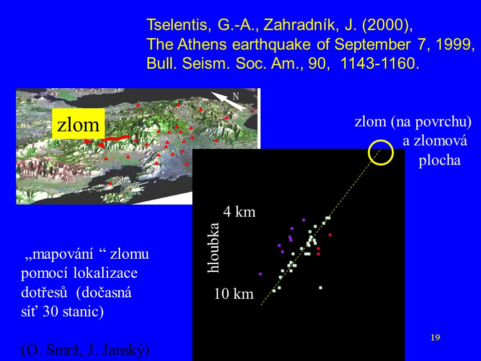 19 Tselentis, G.-A., Zahradník, J. (2000), The Athens earthquake of September 7, 1999, Bull. Seism. Soc. Am., 90, 1143-1160. zlom zlom (na povrchu) a